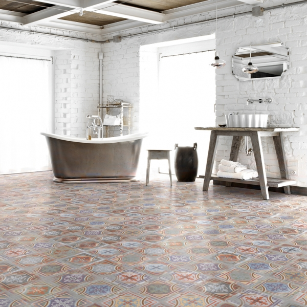 Multicoloured Encaustic Effect Tiles Bathroom