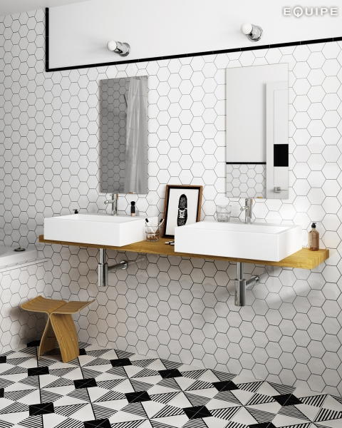 Whaite Hexagon Mosaic 100mm Room