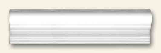 White Ceramic Dado Border Tile 5x20cm