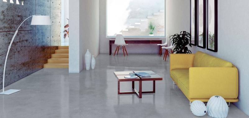 Warm Grey Stone Effect Porcelain Tiles Interior