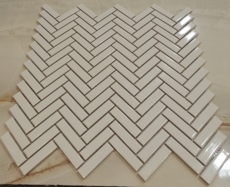 White Gloss Chevron Mosaic Tiles