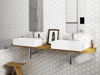 White Hexagon Tile 100mm