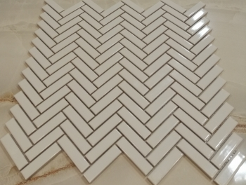 White Gloss Chevron Mosaic Tiles