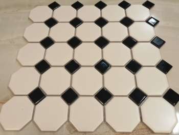 White Black Octagonal Gloss Mosaic Tiles