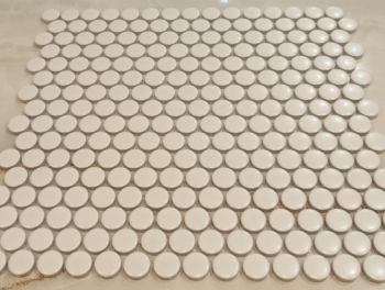 White Satin Penny Round Mosaic Tiles